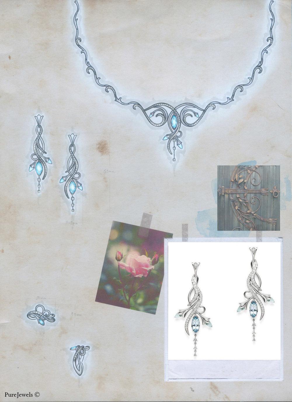 Floralia Collection: White gold, aquamarines & diamonds. Pencil illustration. Designed for  PureJewels