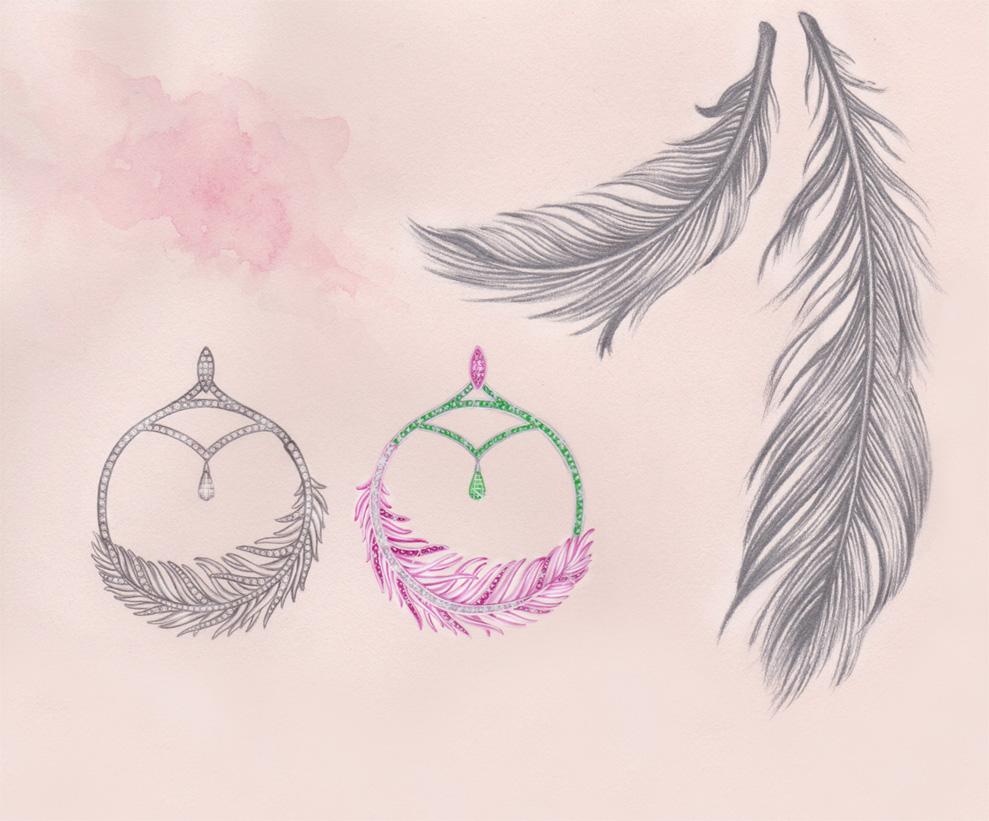 Flamingo Earrings: White & rose gold, sapphires & tsavorites. Gouache painting & pencil illustration