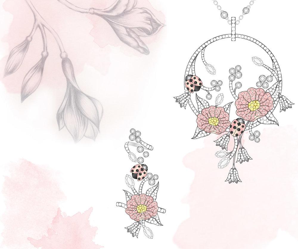 Flora & Fauna Pendant & Ring:  White, yellow & pink diamonds,white & rose gold. Adobe Illustrator & pencil illustration