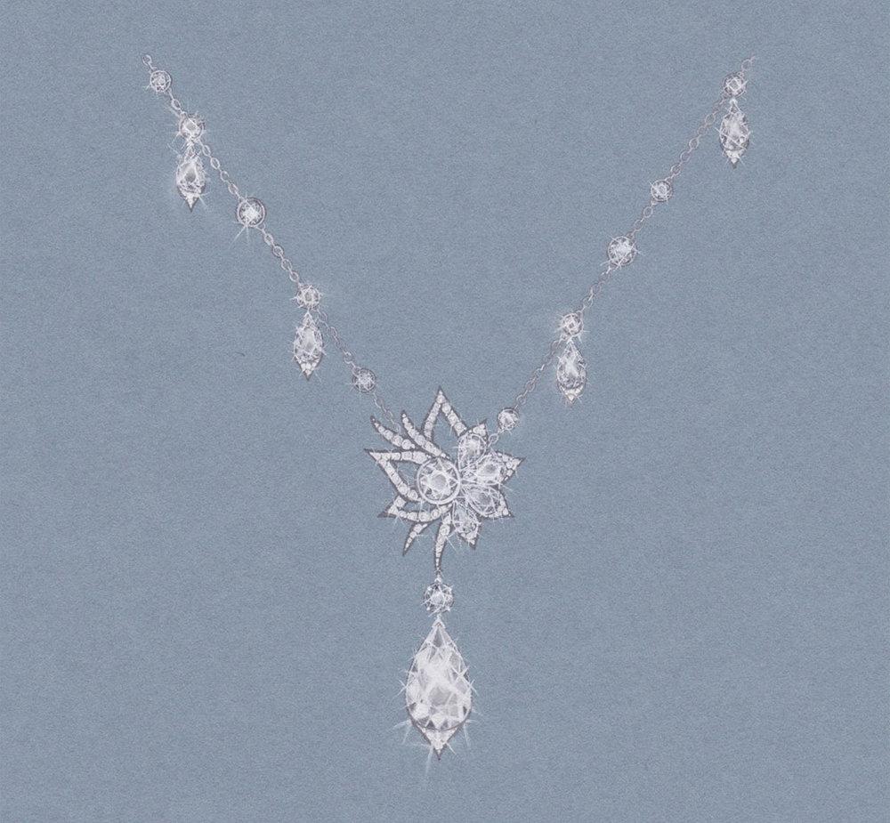 Fleur Diamond & Platinum Necklace:  Gouache painting