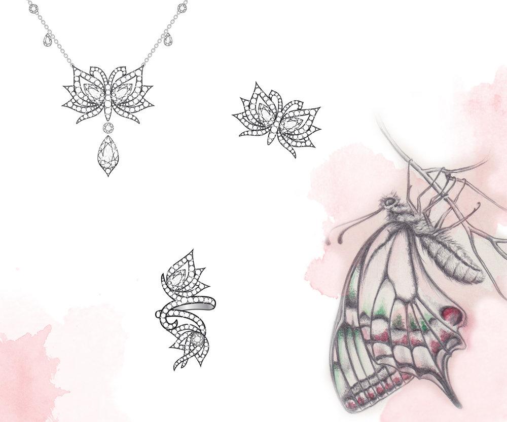 Flutter Diamond Pendant, Pin & Ring:  Adobe Illustrator, pencil & watercolour illustration