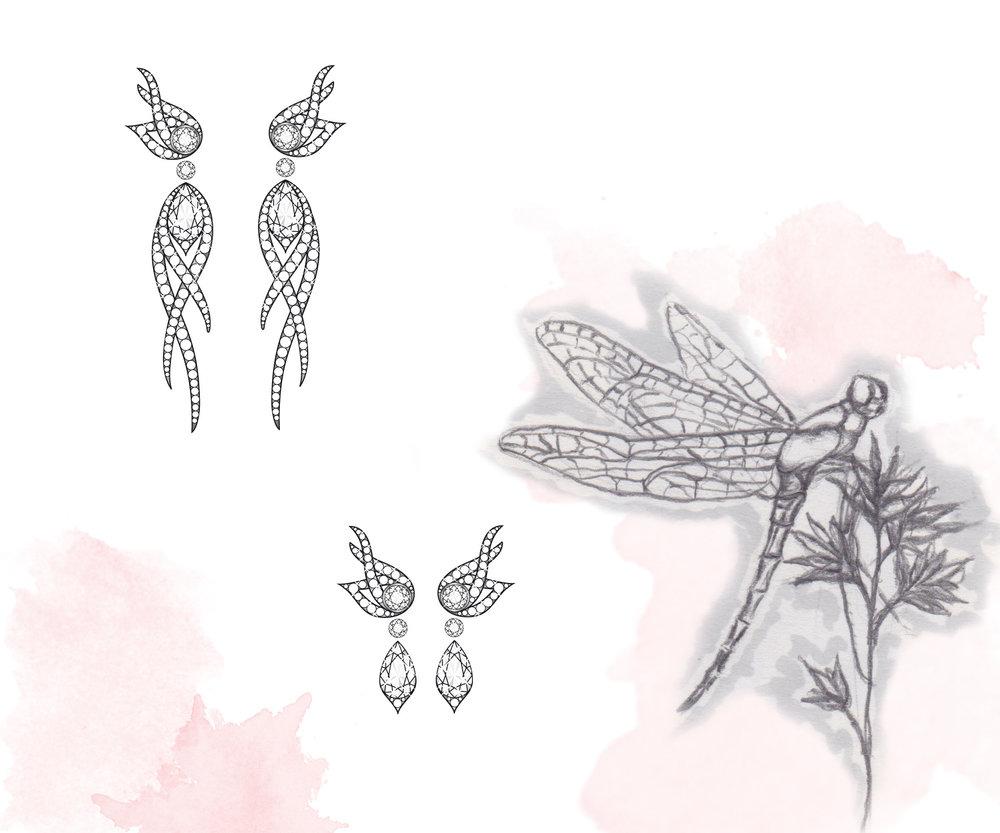 Flutter Detachable Diamond Earrings:  Adobe Illustrator & pencil illustration