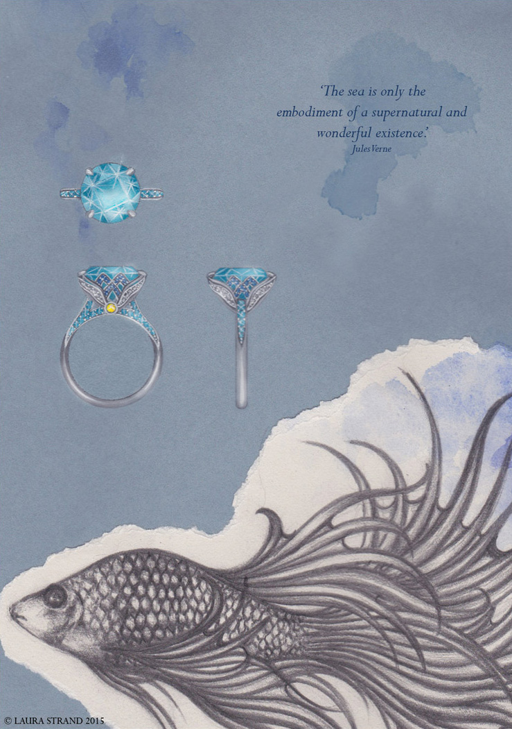 Oceana:  Paraiba tourmaline ring with sapphires & diamonds.   Gouache painting & pencil illustration