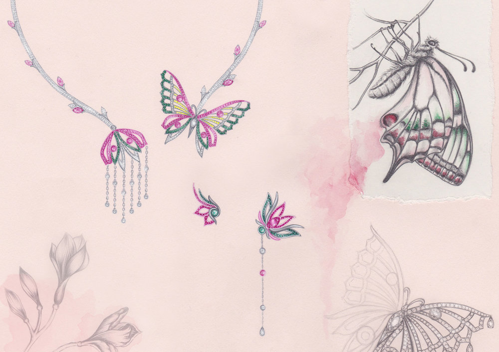 Flutter Suite:  White & rose gold, diamonds, sapphires &tsavorites. Gouache painting & pencil illustration
