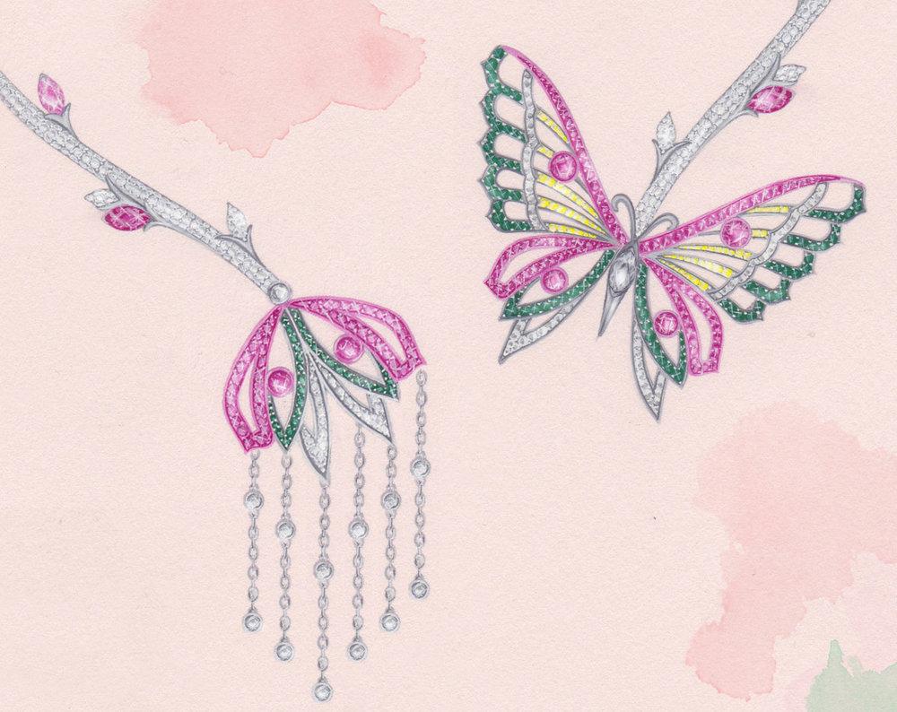 Flutter Necklace:  White & rose gold, diamonds, sapphires &tsavorites. Gouache painting