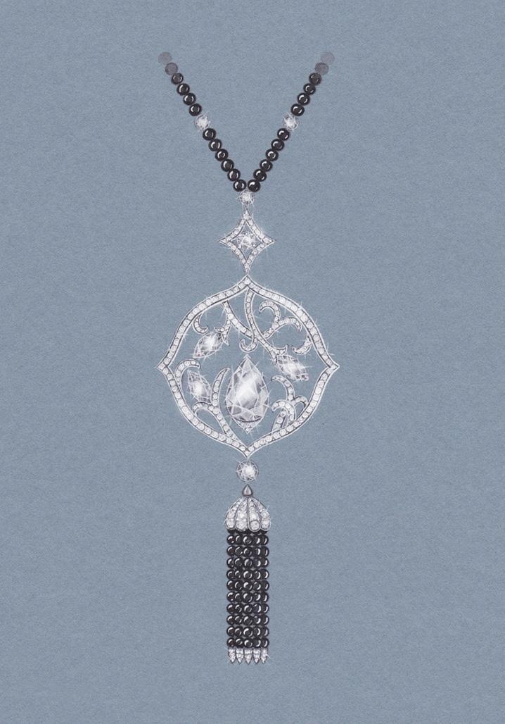 Wild Rose Diamond & Onyx Pendant:  Gouache painting