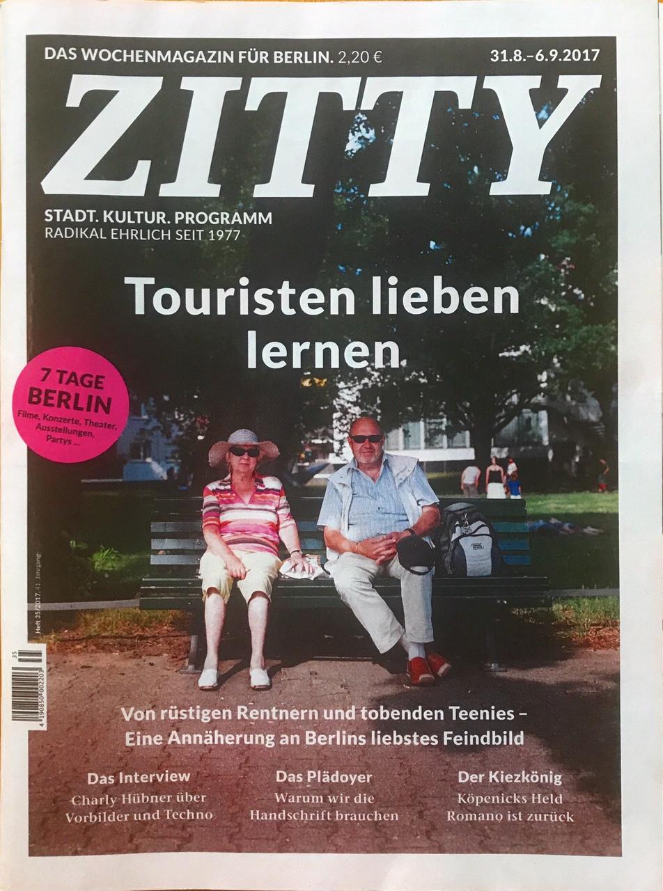 Veröffentlichung im Zitty Magazin Ausgabe 31.08 - 06.09.2017