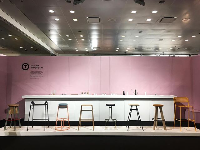 'Tools for everyday Life' stand complete at ICFF Booth 1132 🛠🌸 #stand #exhibition #icff #newyork #design #products #stools #colours #pink #britishdesign #British #designers #tools #new #icff2017 #show #productdesign #booth #work #object