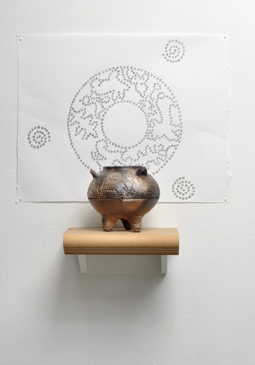 "Bull & Hare,  2009,  26.5"" ht. x 23"" w x 10"" depth. Ceramic and graphite on paper."
