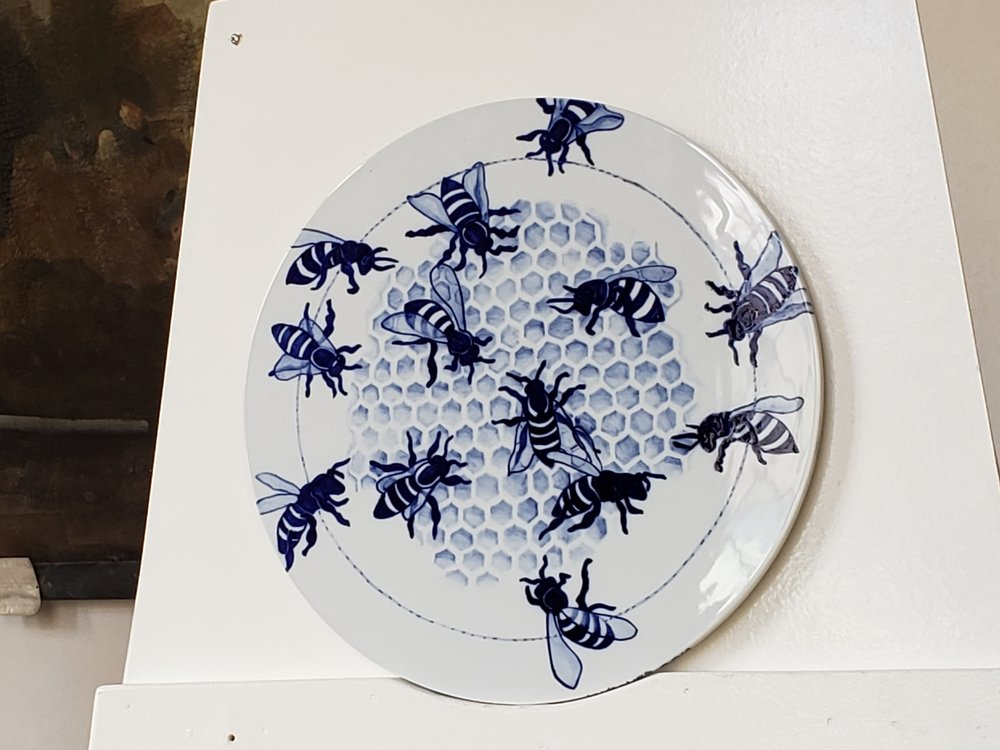 "Libor's Bees, fired disc, 17"" diameter"