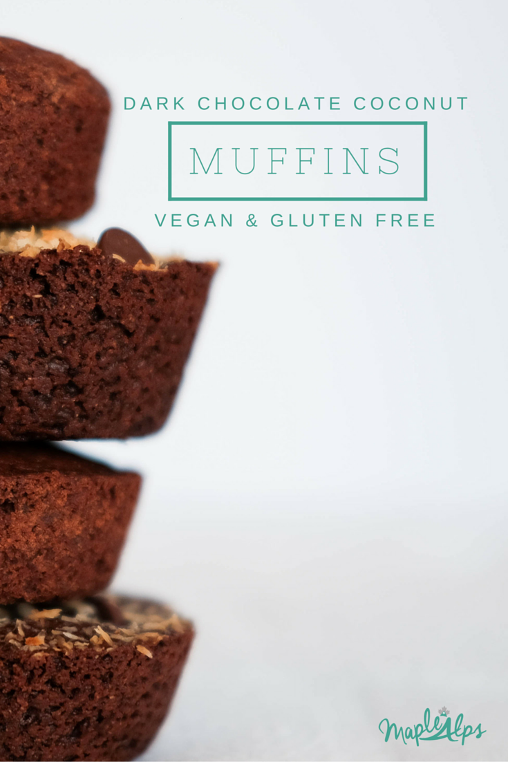 Dark Chocolate Coconut Muffins (vegan & gluten free)