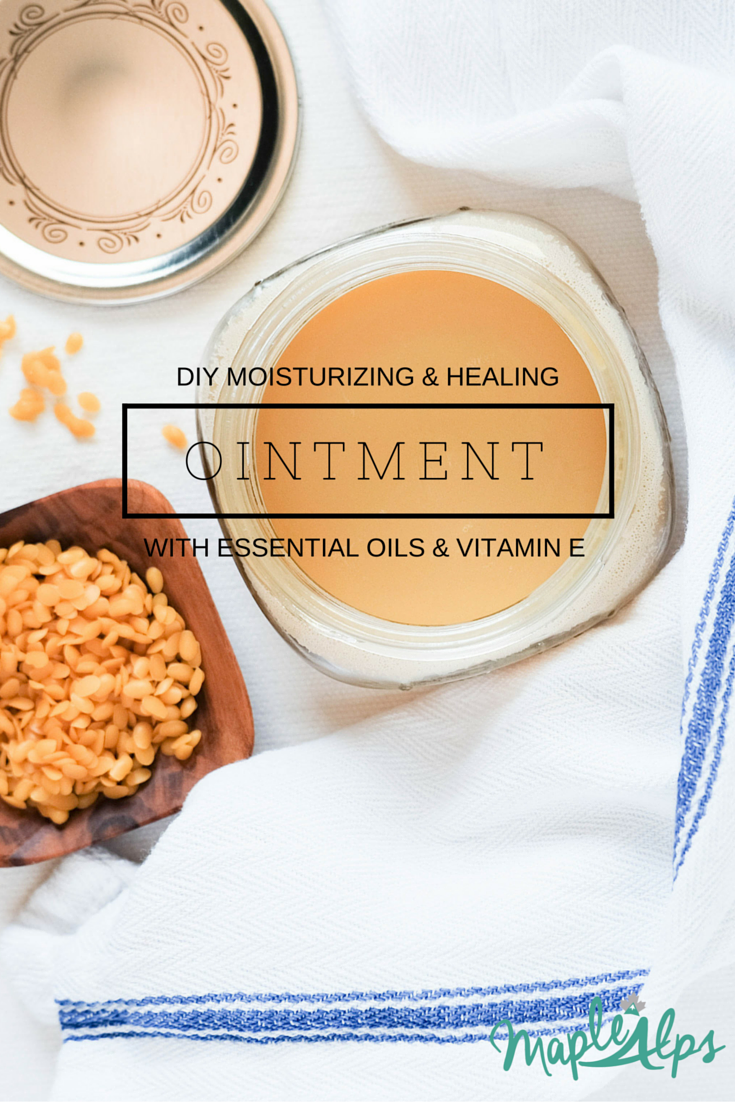 DIY Moisturizing and Healing Ointment/Salve. Easy to make and so very effective with essential oils and vitamin E