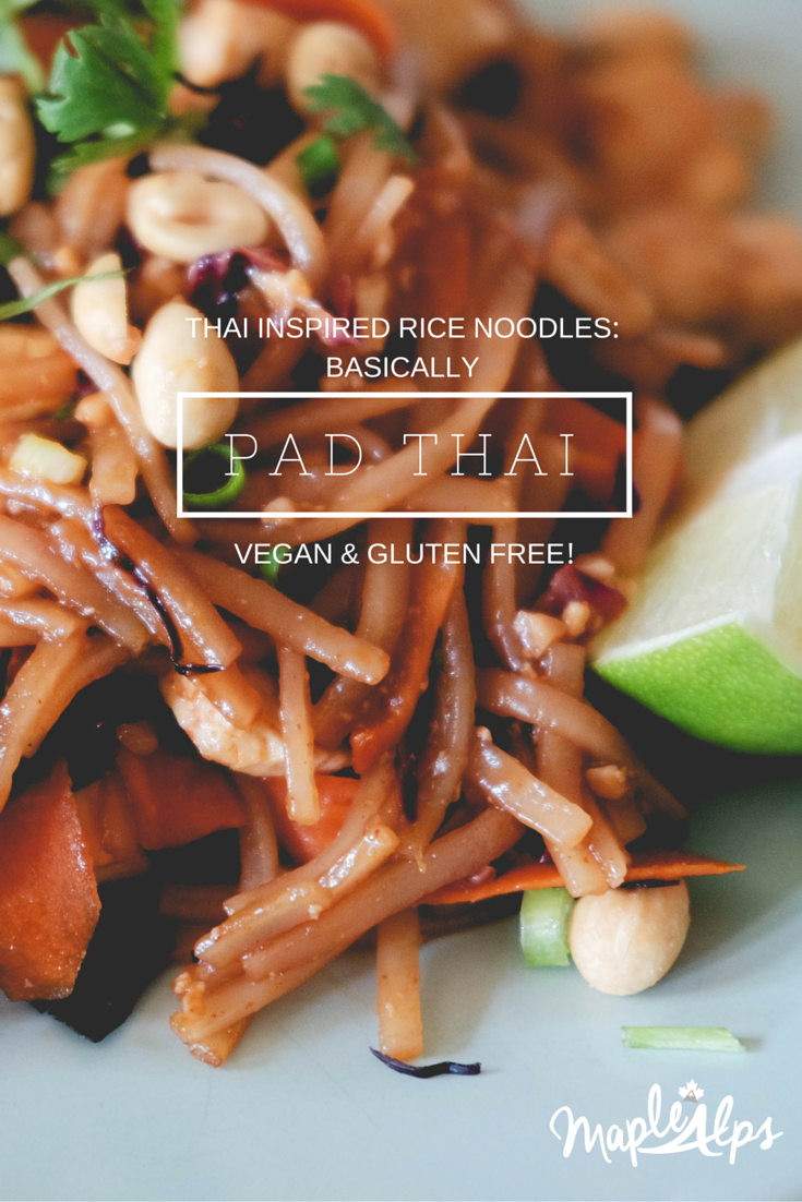 The easiest rice noodles ever! Tastes like pad thai, but without the fish sauce! Delicious! | www.maplealps.com