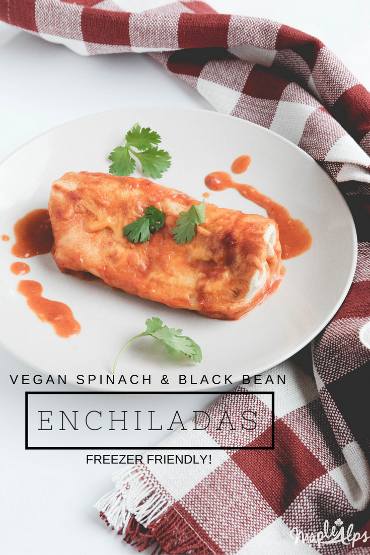 Spinach & Black Bean Enchiladas (vegan) | www.maplealps.com