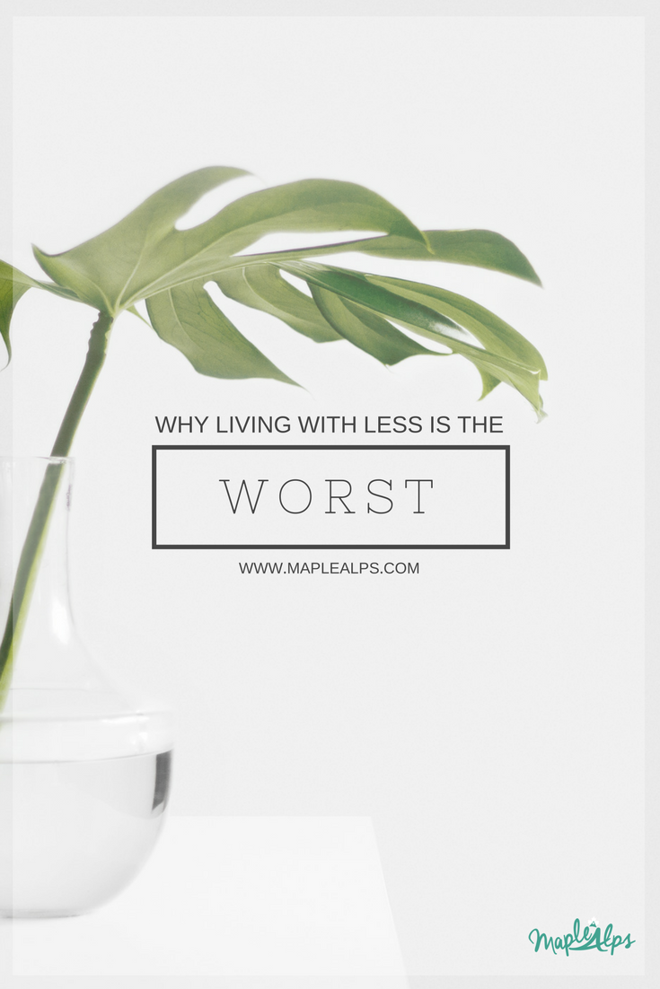 Why Living with Less is the Worst | www.maplealps.com