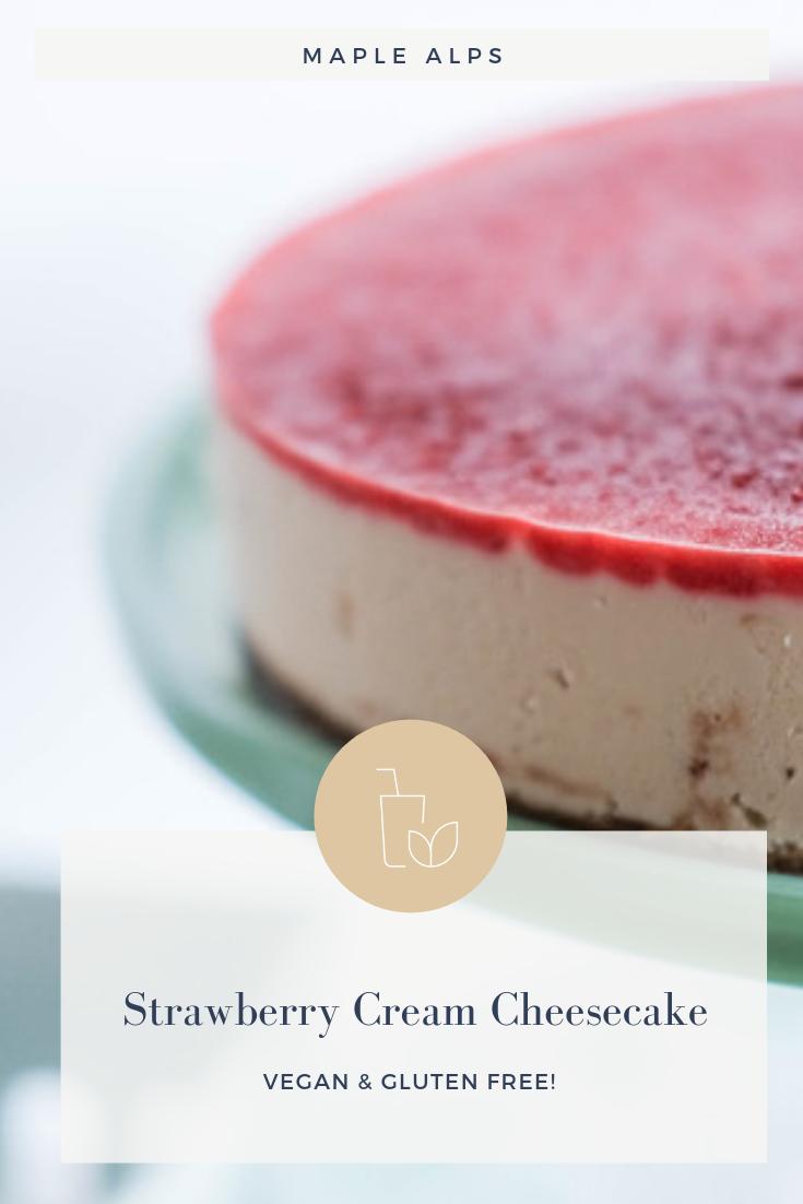 Strawberry Cream Vegan Cheesecake | www.maplealps.com