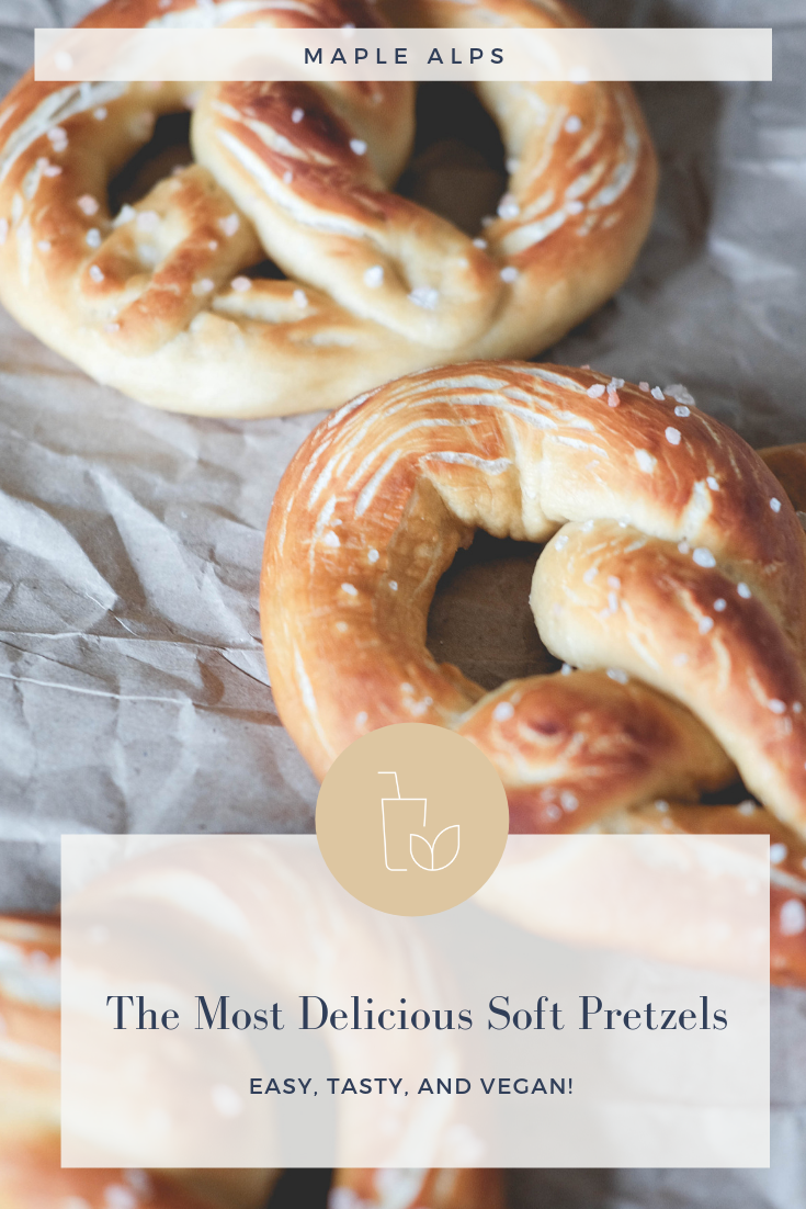 The most delicious vegan soft pretzels you'll ever make, sprinkled with pink himalayan sea salt! #MapleAlps #Vegan
