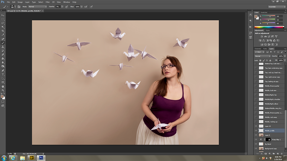 Makin' the cranes pretty. Started adding shadows on the wall to make them believable. (Sooooo many layers; thank goodness for Photoshop.)
