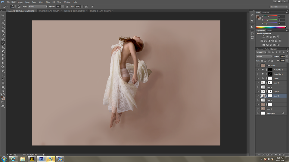 Smoothed out the background. Added more fabric.