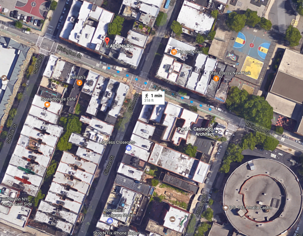 Image: Satellite view of ABC No Rio and Paul A. Castrucci Architect headquarters. One minute walk and neighborhood.