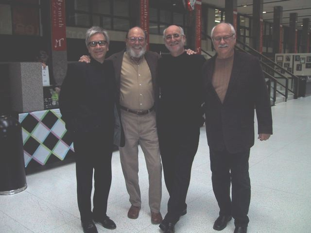"L to R: Gary Rue, Jerry Allison (Crickets drummer); Ron Peluso (History Theatre Artistic Director) and Sonny Curtis (Crickets' guitarist) at History Theatre's 2009 production of ""Buddy! The Buddy Holly Story"""