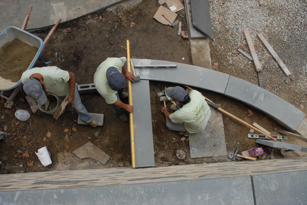 Terren masonry team working with Pennsylvania Bluestone.
