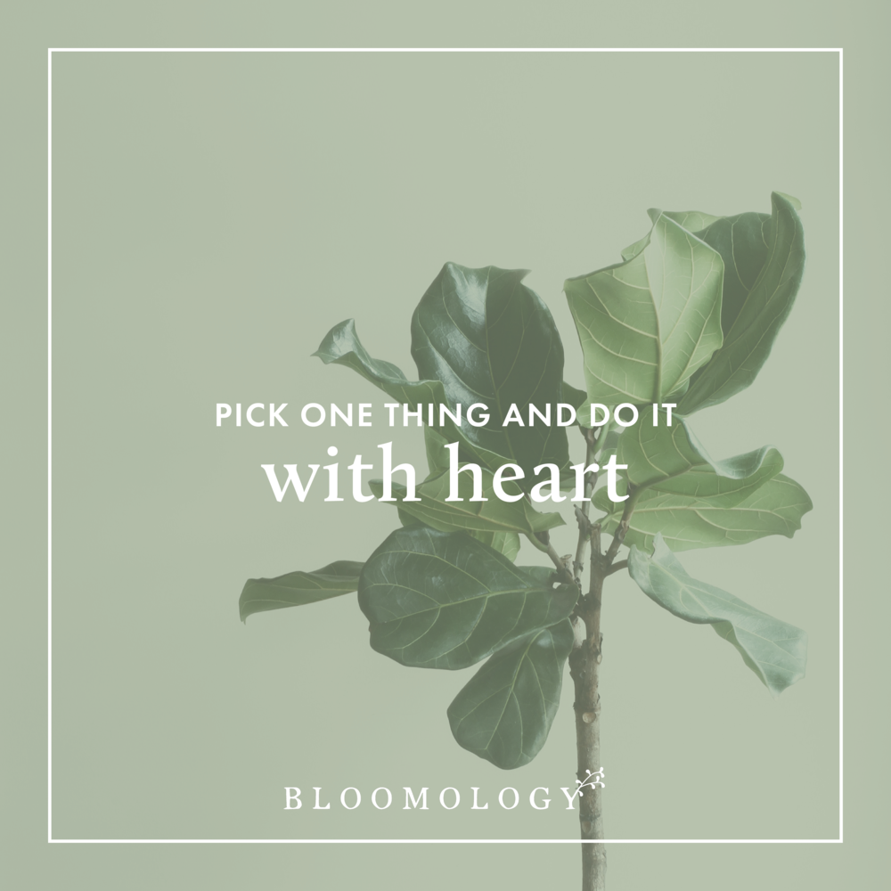 Pick One Thing and Do It With Heart | Bloomology.co