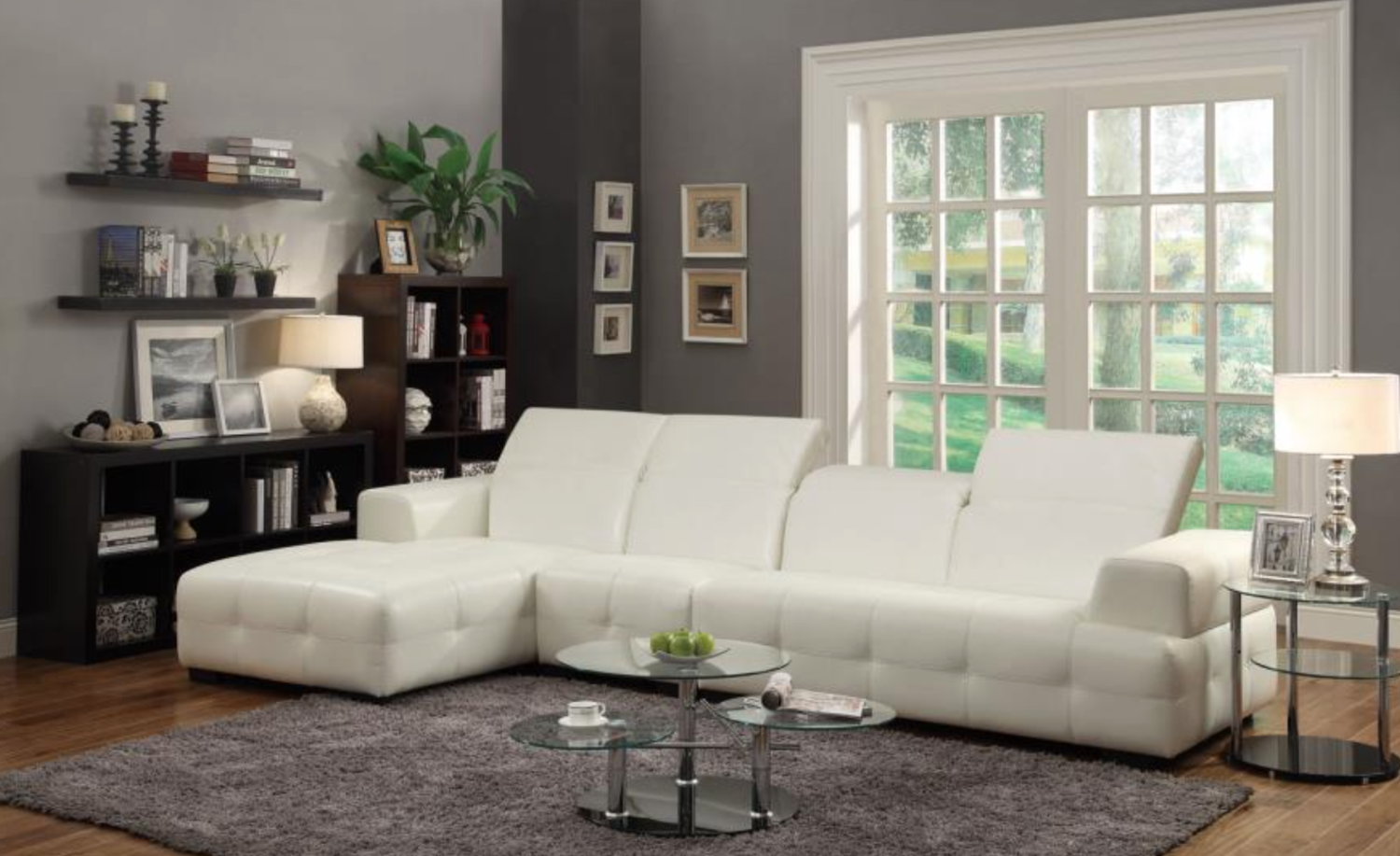 Glam white sectional coco furniture gallery furnishing dreams