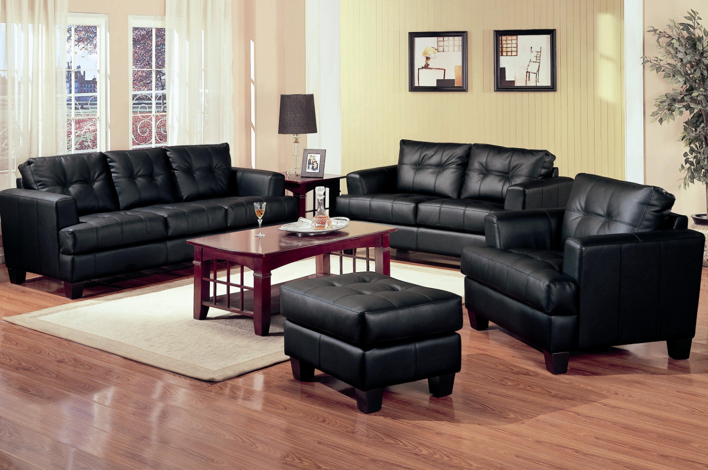 Jersey Black Leather Sofa Bed