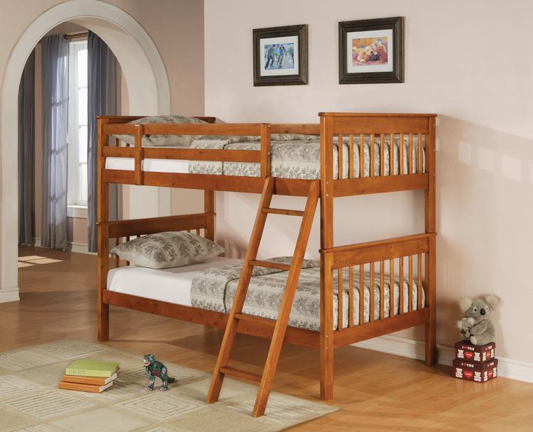 Sebastian Oak Twin Twin Bunk Bed — Coco Furniture Gallery