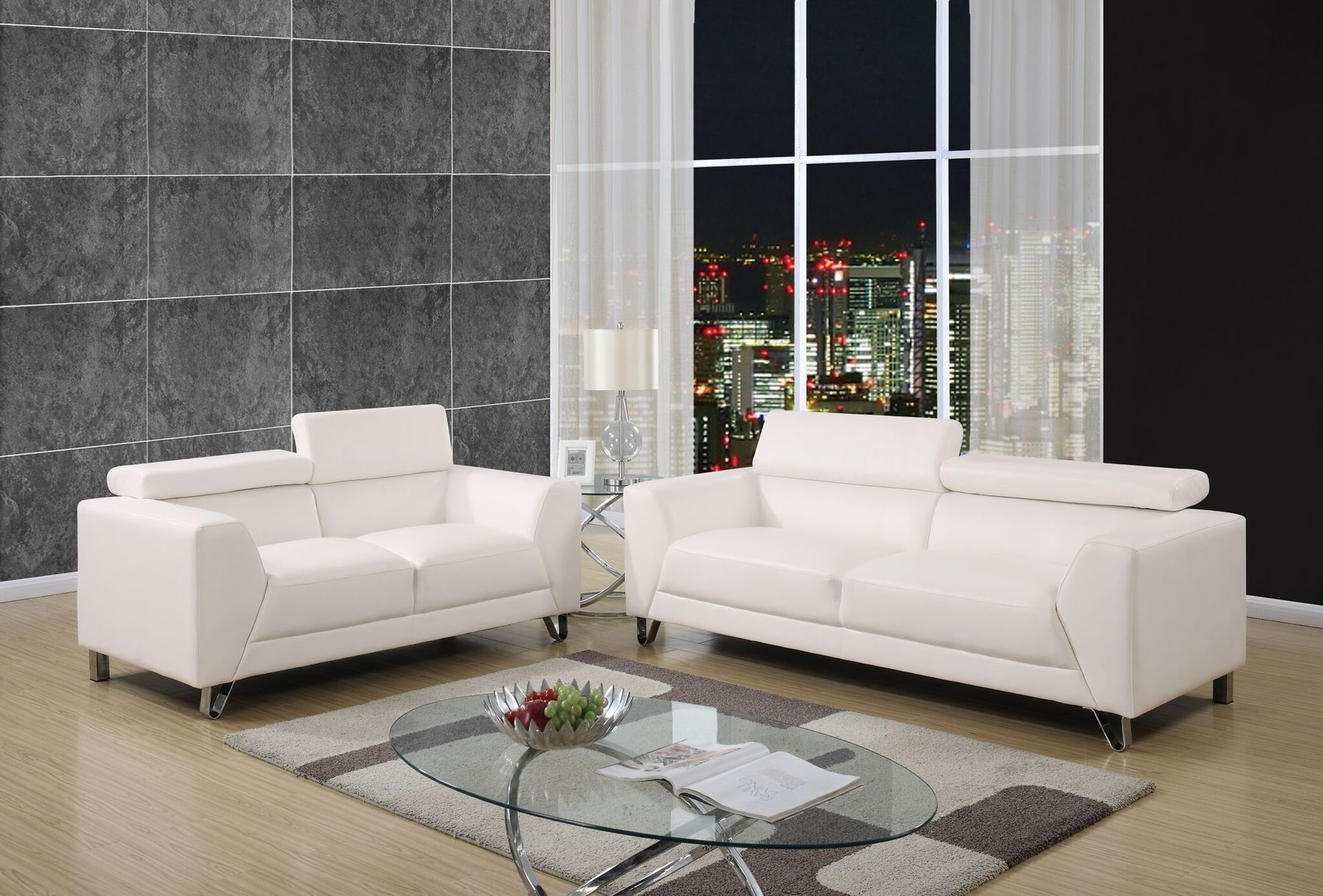 Bruno White Or Grey Fabric Sofa