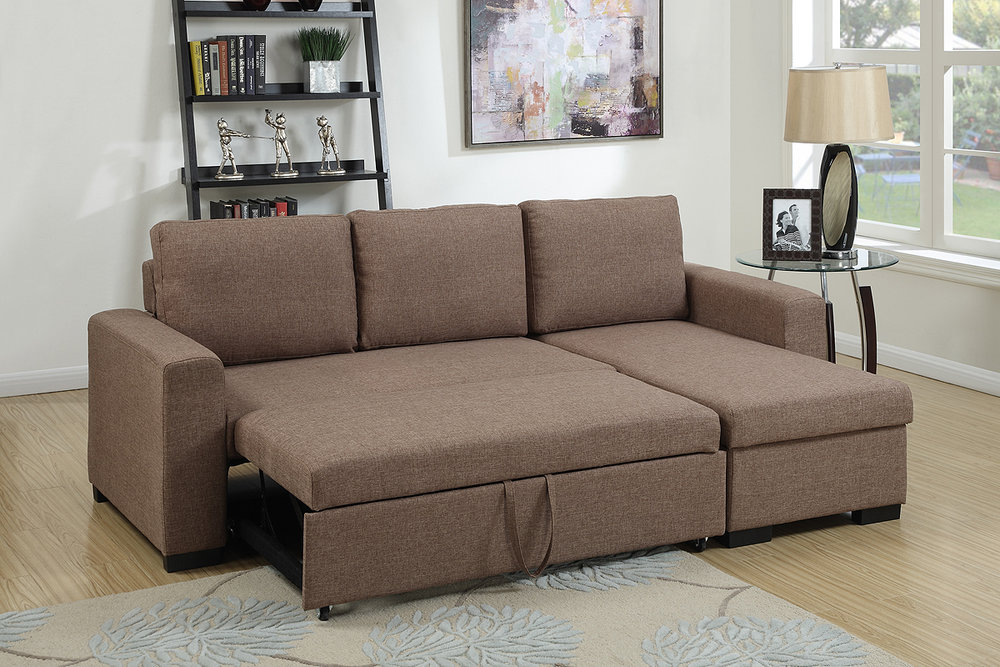Megan Light Coffee Sectional U0026 Pull Out Bed