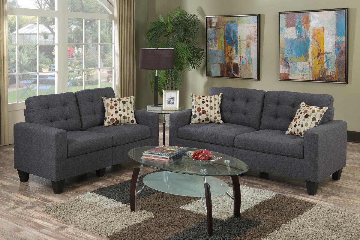 Olivia Blue Grey Sofa Loveseat Set Coco Furniture Gallery