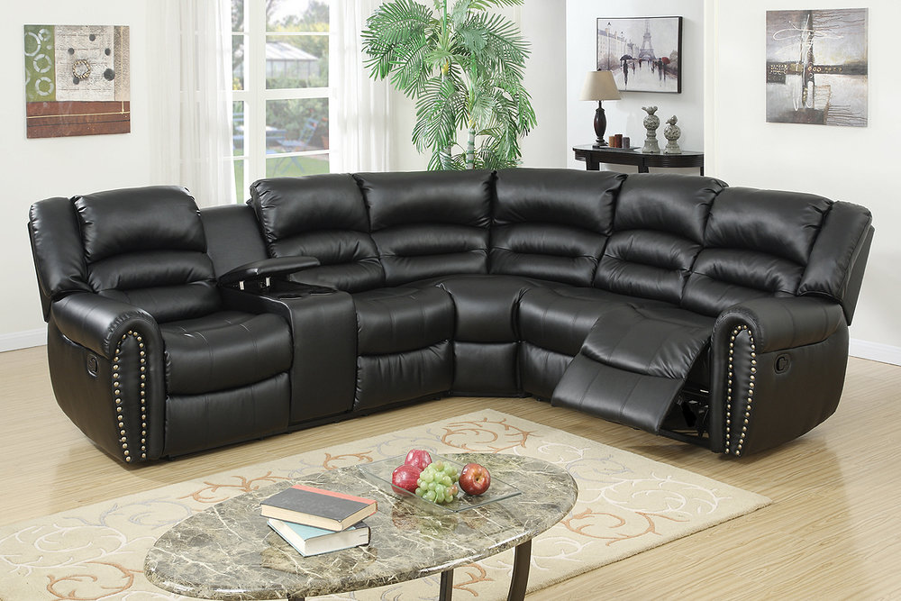 Katia Black Recliner Sectional : recliner sectionals - Sectionals, Sofas & Couches