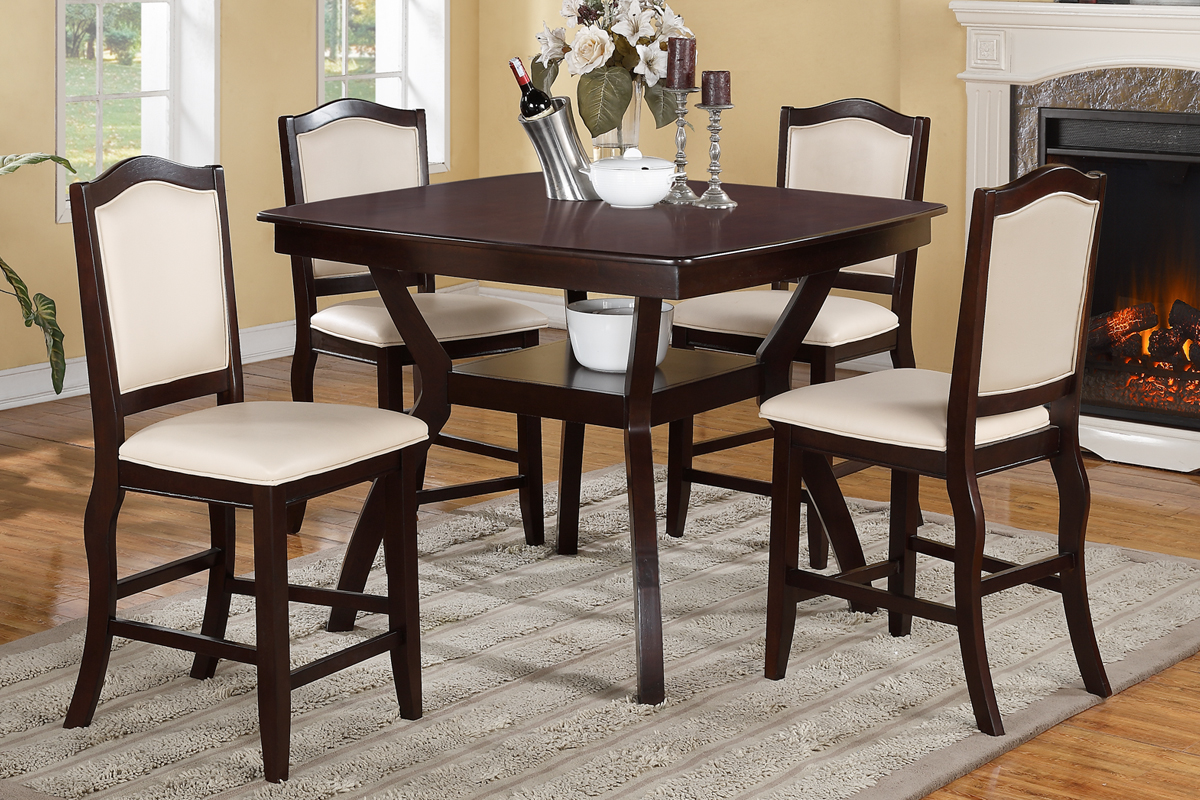 Lydia Cream Counter Height 5PC Dining Set & Lydia Cream Counter Height 5PC Dining Set u2014 Coco Furniture Gallery ...