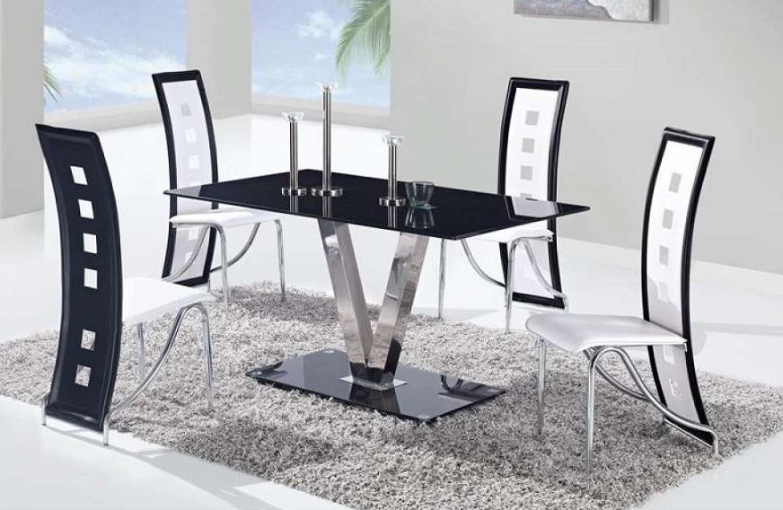 Camila Black U0026 White 5PC Dining Set U2014 Coco Furniture Gallery Furnishing  Dreams