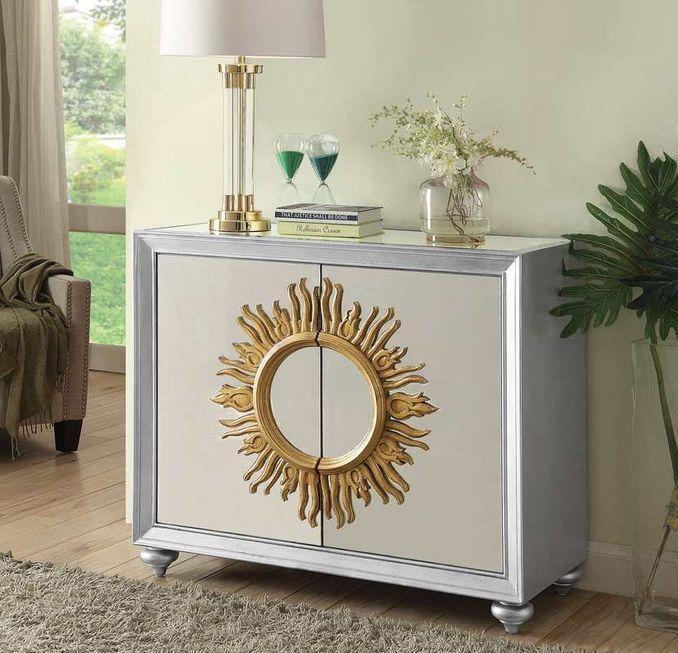 mirror silver accent cabinet