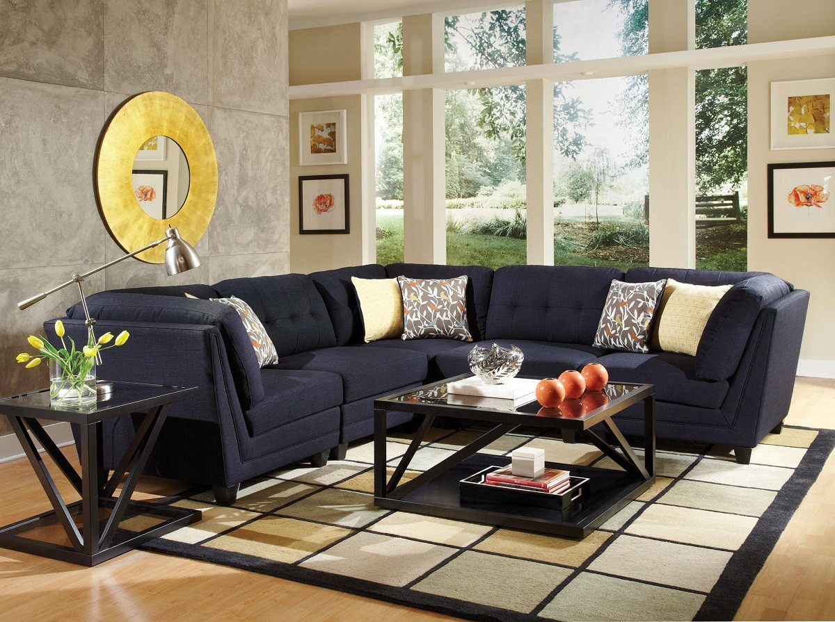 Gus blue sectional coco furniture gallery furnishing dreams