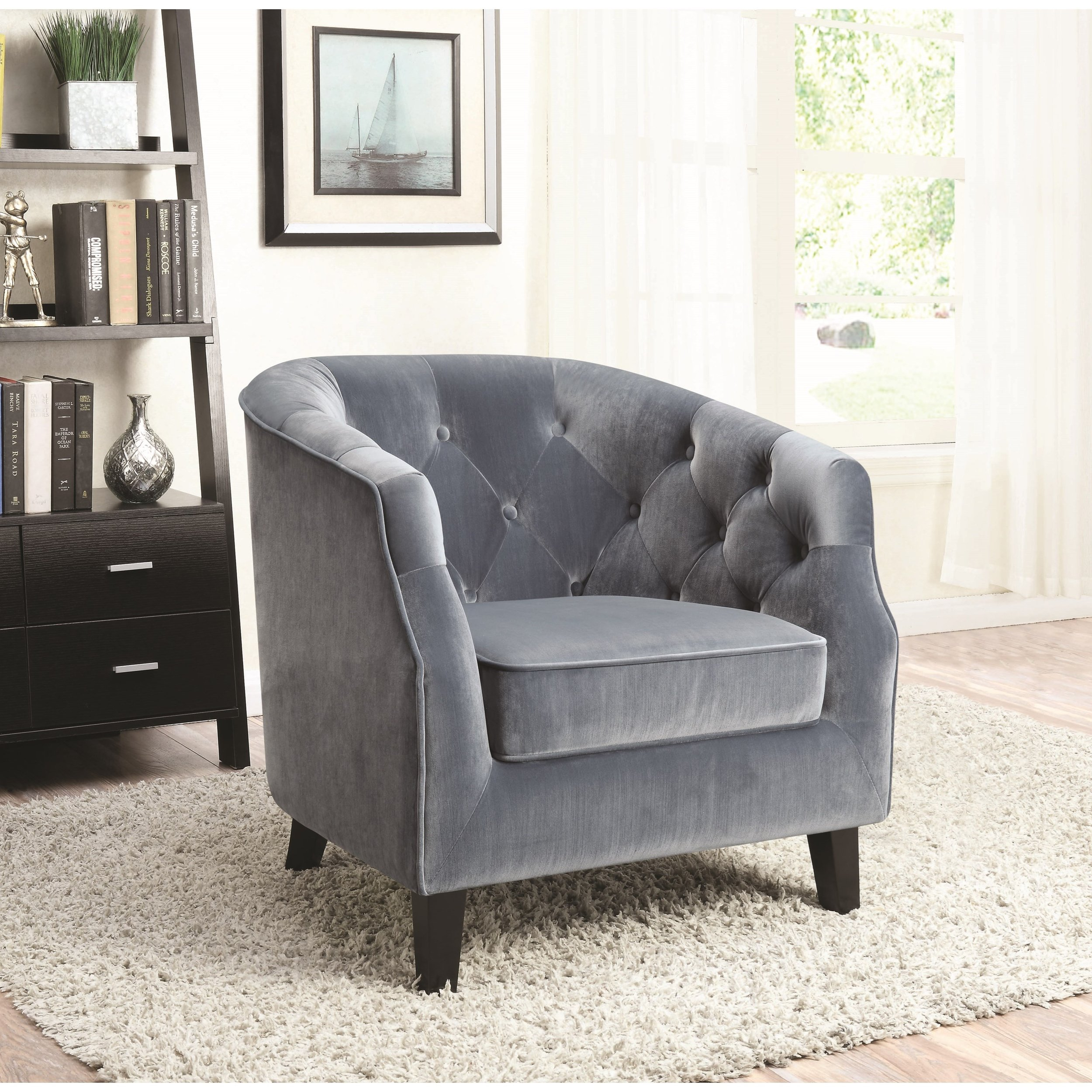 Dusty Blue Velvet Accent Chair