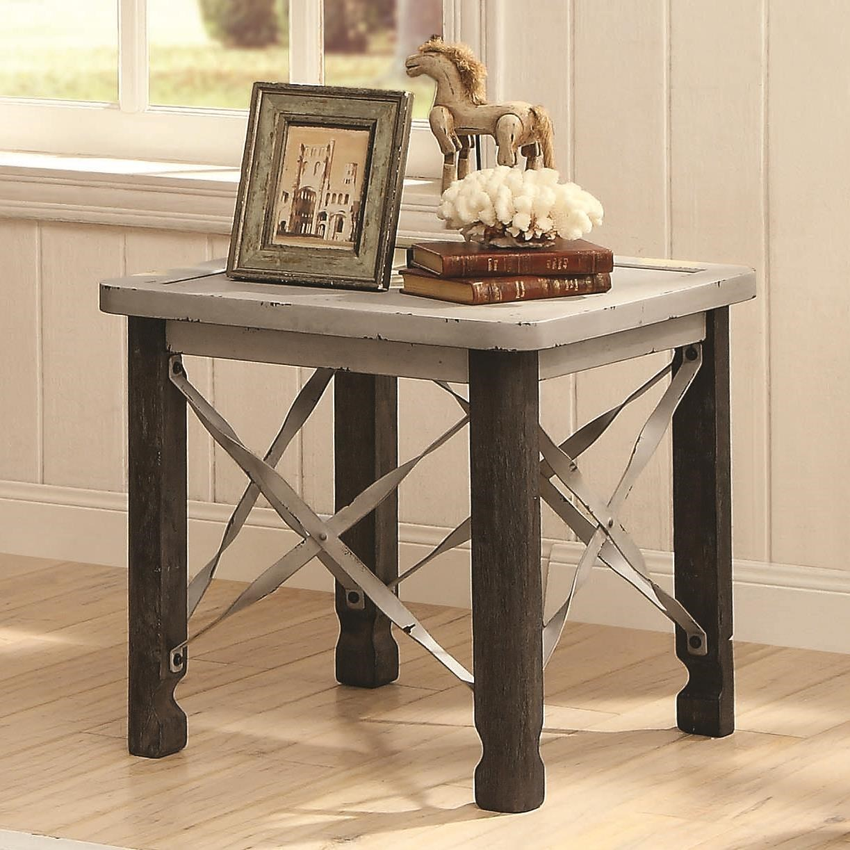 Naty Antique White End Table