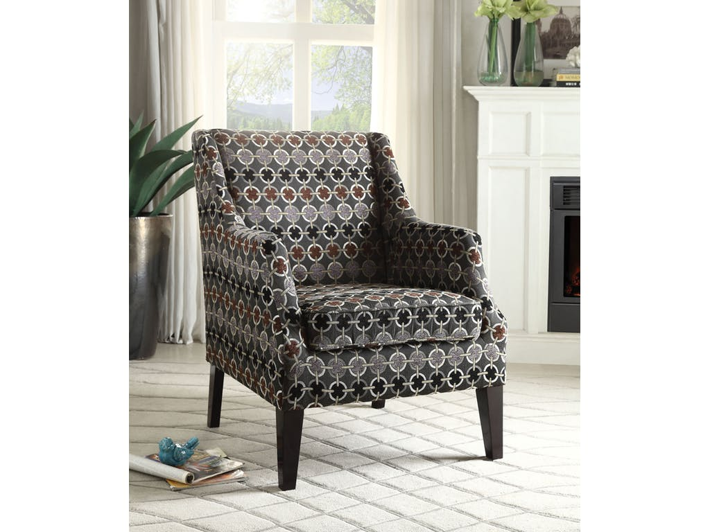 Caly Pattern Fabric Accent Chair