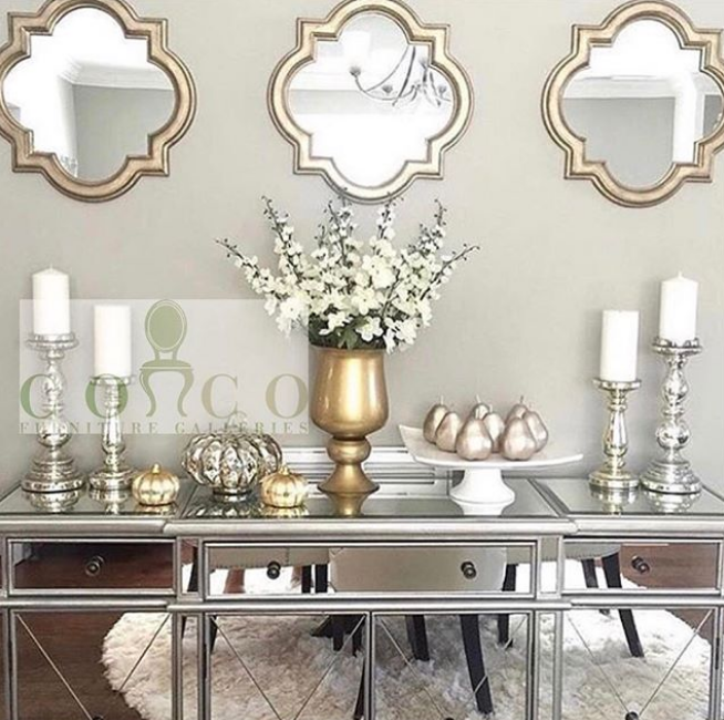 Versatile Metallics - Metallics will transition in your home all year round, but how gorgeous is this fall setup? The Mercedes Mirrored Buffet will probably be the most versatile piece you can get your hands on as it picks up color so easily