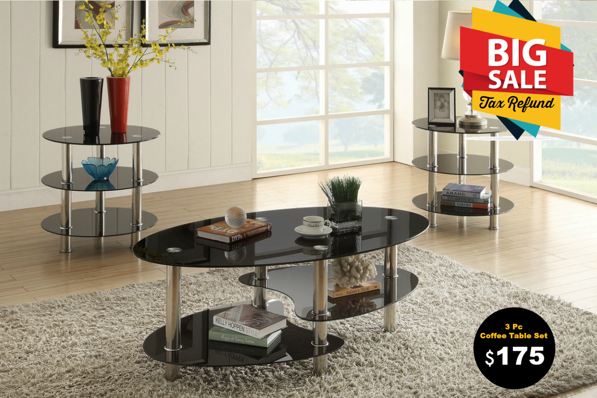 Bruno black 3pc coffee table set coco furniture gallery furnishing dreams