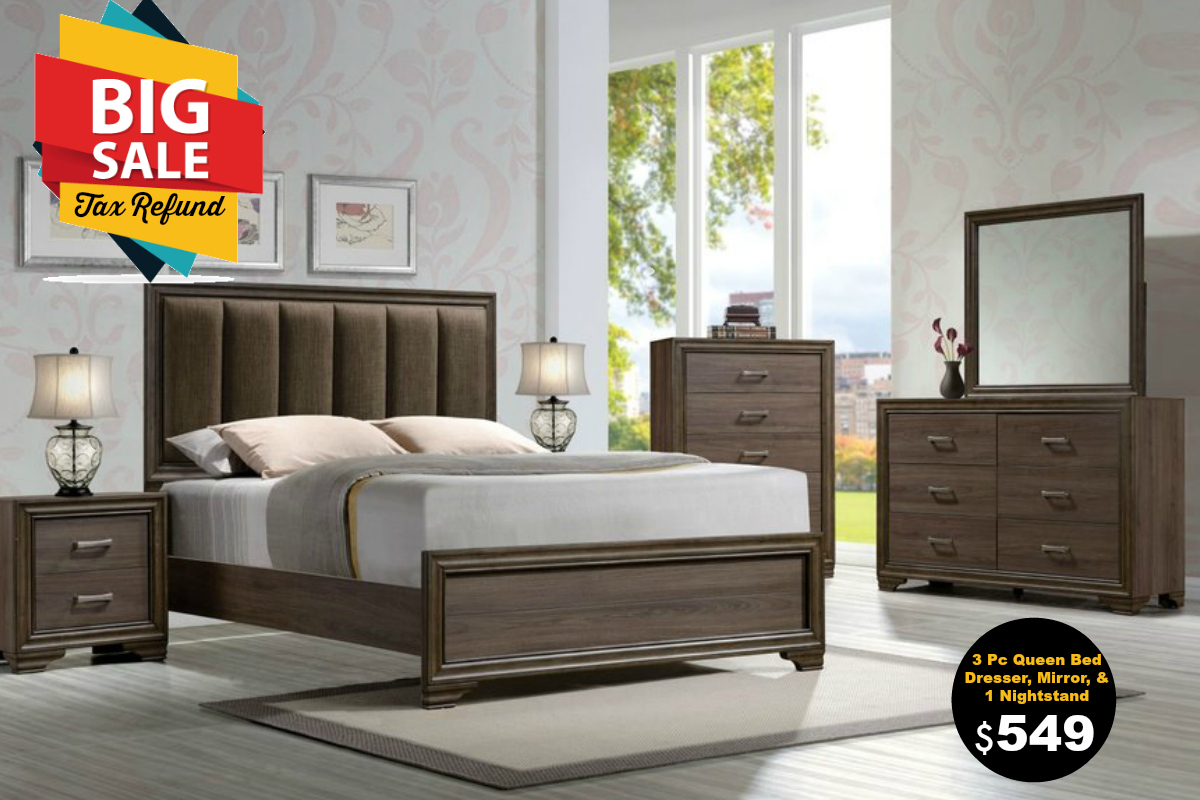 Madison Upholstered Walnut 4PC Bedroom Set — Coco Furniture Gallery ...