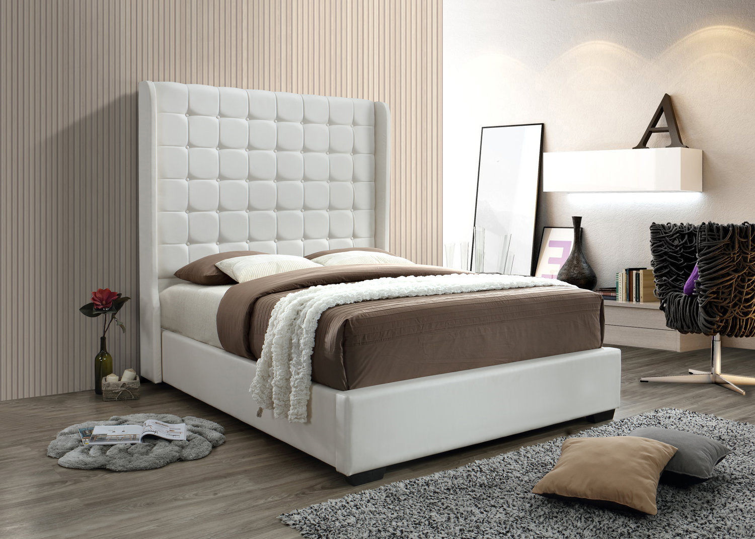 straight product xcella leather kroma white bed leatherette queen ws