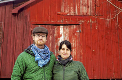 Abe and Maddie in front of the barn at Hosta Hill. photo: Ben Garver
