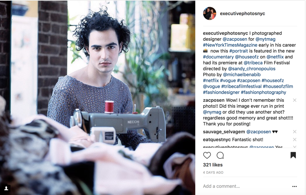Zac Posen post on executivephotosnyc Instagram