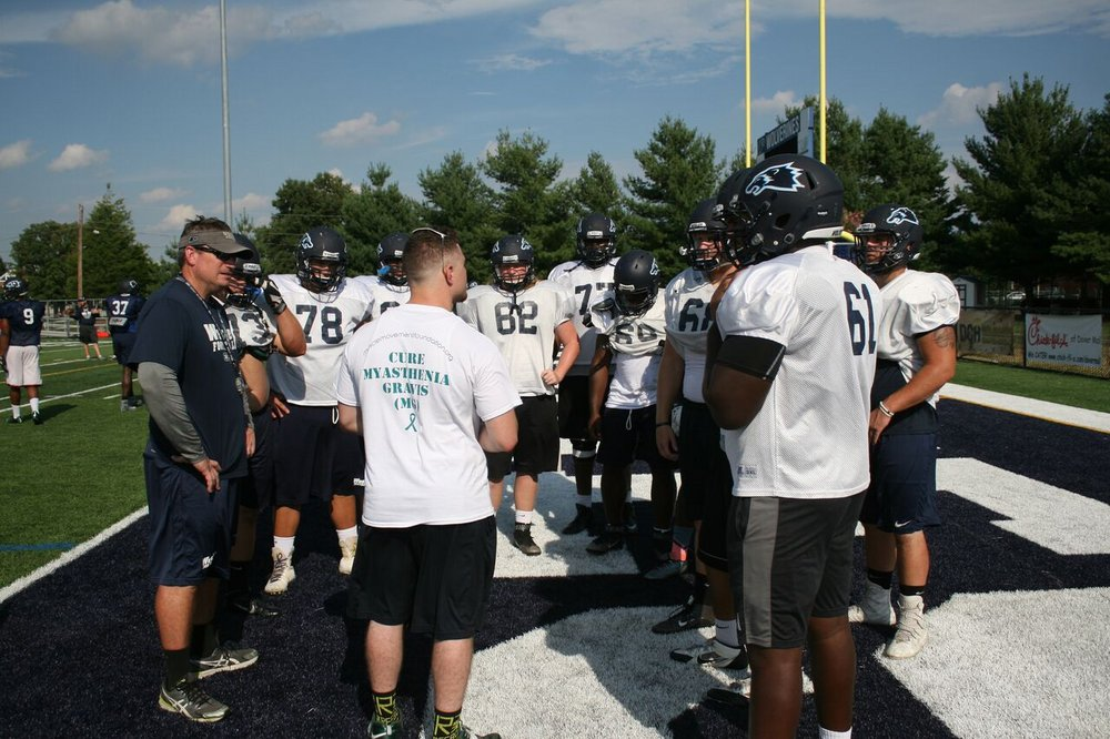 MMF Founder, Rob DeMasi, speaking to a group of players at Thursday's practice. Copyright 2016, Wesley College Athletics.