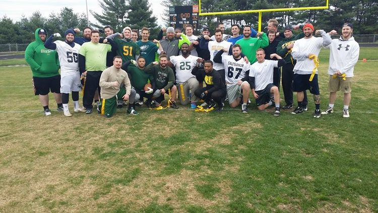 Alumni from Saint Mark's High School and Salesianum High School (DE) joined in a flag football game to benefit MMF!