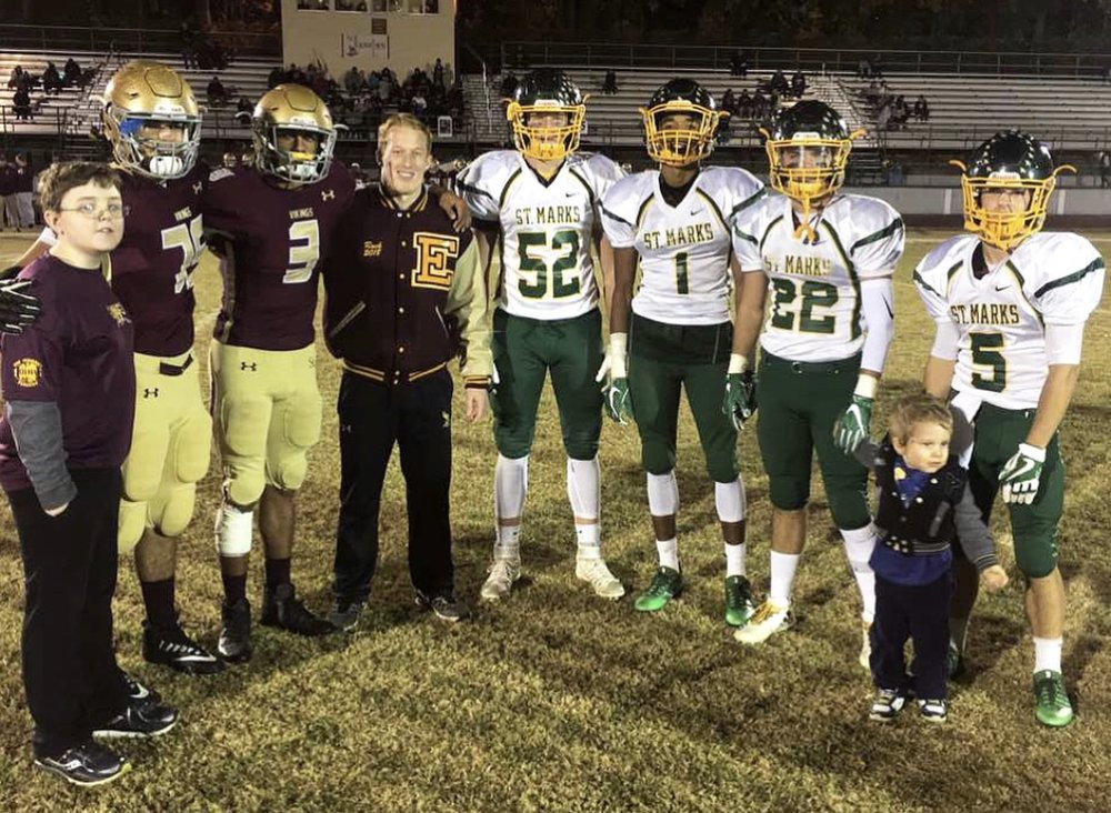Saint Mark's and St. Elizabeth High School Captains proudly welcome their honorary captains from the Muscle Movement Fdn. MMF Muscle Champion, Max French, joined the Vikings, and MMF Muscle Champion, Roman Graham, joined the Spartans in 2017!